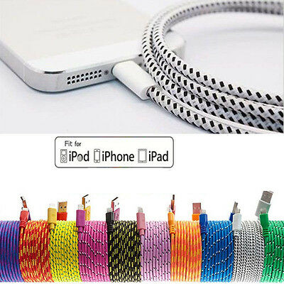 1M Braided Lead Sync Data Cable USB Charger for iPhone 6 6S Plus iPod Touch iPad