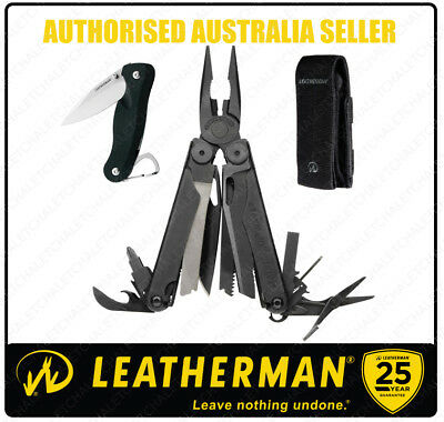 NEW Leatherman WAVE BLACK MultiTool + Molle Sheath + Crater C33 *AUTH AUS SELLER