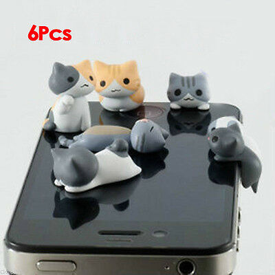 6pcs Cheese Cat 3.5mm Anti Dust Earphone Jack Plug Stopper Cap for Iphone  GY