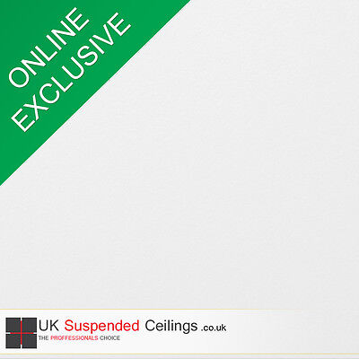Easy Clean Suspended Ceiling Tiles x8, White Vinyl 595x595mm Square Edge 600x600