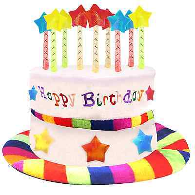 Happy Birthday Party Cake Hat Candles Plush Rainbow Novelty Gift Fancy Dress Fun