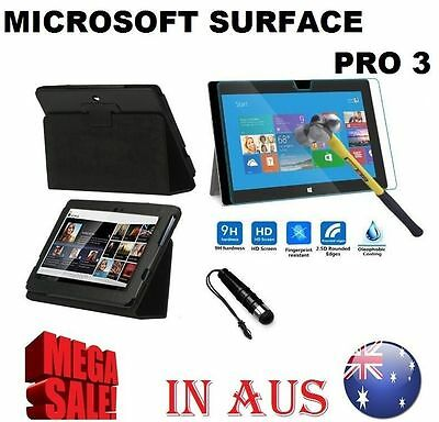 Flip Leather Case Cover Tempered Glass Screen Protecto 4 Microsoft Surface Pro 3