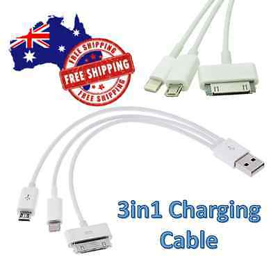 3in1 USB Charger Cable Adapter For iPad Mini iPhone Galaxy S 2 3 4 5 i9500 Sony