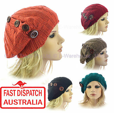 Crochet Hat Knit Knitted Slouch Lace Lacy 70s French Beret Beanie Twist Ribbed