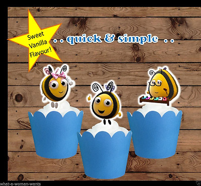Buzz bee the Hive EDIBLE wafer Cupcake Toppers cake birthday x12