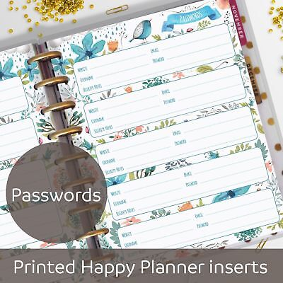 Password Pages, Password Keeper, Inserts for Classic MAMBI Happy Planner
