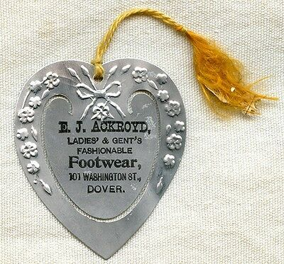 Ca. 1900 Dover, NH Bookmark of E.J. Ackroyd Footwear on Washington Street
