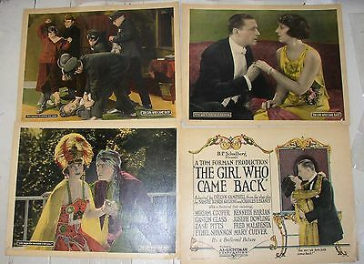 Nice lot of 4 Silent Film Lobby Cards: 1924, Girl Who Came Back, Miriam Cooper
