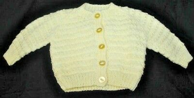 Hand Knitted Baby Cardigan in Yellow. 3-6 Months.