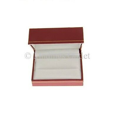 Classic Rectangular Style Leatherette Jewelry Double Ring Gift Box