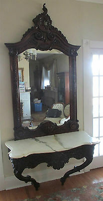 Antique Signed Finely Carved Louis XV Console & Mirror w/ Marble