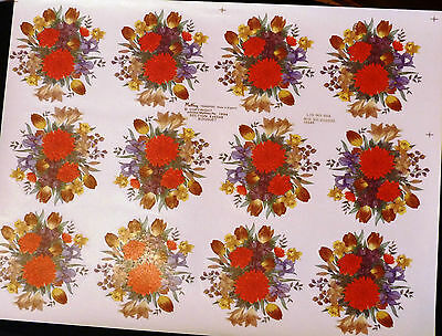 CERAMIC DECALS RED &YELLOW BOUQUET 12 ON A SHEET 9 cm ROUND RIGHT PRIVE