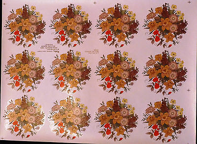 CERAMIC DECALS  BOUQUET 12 ONE A SHEET 9 cm ROUND RIGHT PRICE