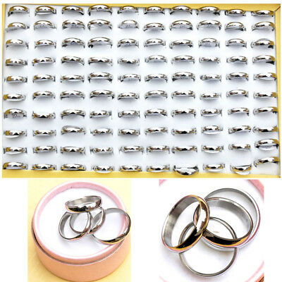 12/24/36Pcs Wholesale Jewellery Lot Unisex Stainless Steel Silver Band Rings Hot