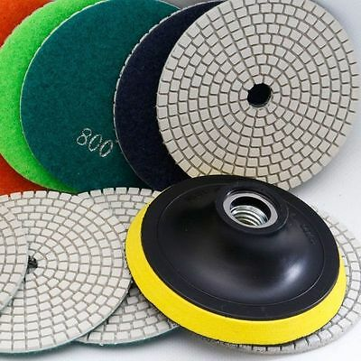 5 inch Diamond Polishing Pads Wet/Dry Set Granite Concrete Marble Stone 8 Piece