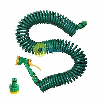 15M 50FT Retractable Coiled Garden Hose Pipe Reel With Water Spray Gun Nozzle
