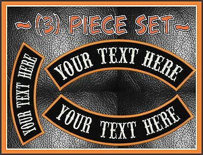 """CUSTOM EMBROIDERED 4 PIECE 13/"""" MC ROCKER PATCH SET MOTORCYCLE BIKERS SONS HD"""
