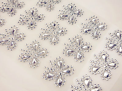 Clear Diamante Butterfly Stick On Crystal DIY Card Kids Room Decal Craft Sticker