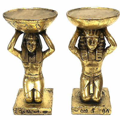Egyptian Candle Holder Ornament Statue Figurine Egypt King Queen PAIR Gold 3299