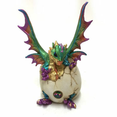 Dragon Hatching out of Egg Figurine Ornament Sculpture Statue Purple 18cm
