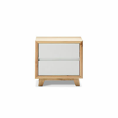 Natural Scandinavian Retro WHITE TIMBER Solid Pine 2 Drawer Bed Side Table