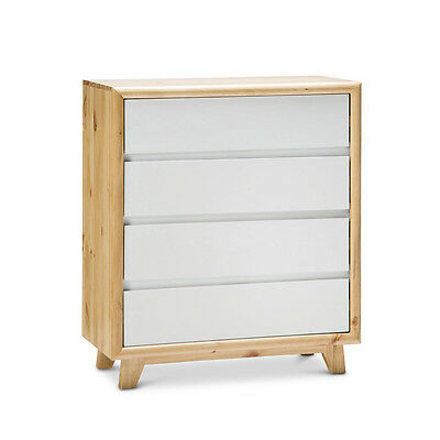Natural Scandinavian Retro WHITE TIMBER Solid Pine 4 Drawer Tallboy Chest
