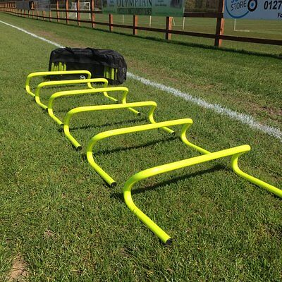 """Set of 6 Agility Hurdles 6"""" with Carry Bag - Football Speed & Agility Training"""