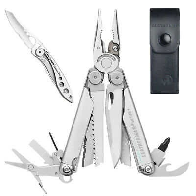 Leatherman WAVE Stainless MultiTool + Leather Sheath + Crater C33 *AUTHAUSDEALER