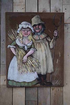 "Retro Vintage Unusual Oil On Canvas Painting ""Farmer & Girl"" - Unknown Artis"