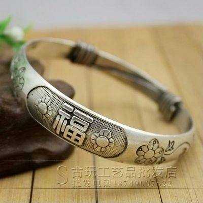 Chinese Antique carved Miao silver jewelry bracelet Plum flower 福