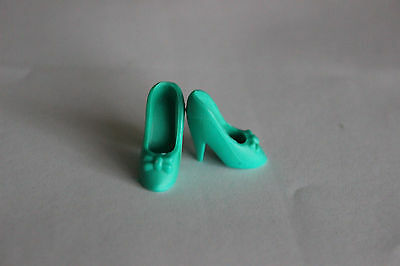 Barbie doll high heel shoes green bow heels