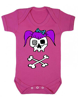 Rockabilly Girl Skull Pink Baby Vest, Tattoo Rockabilly Punk Goth 0-18 months