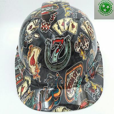 Hard Hat CAP STYLE custom hydro dipped , OSHA approved WICKED GAMBLER NEW