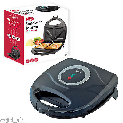 Quest Electric Sandwich Maker Toaster Easy Clean Non Stick 750W - BLACK