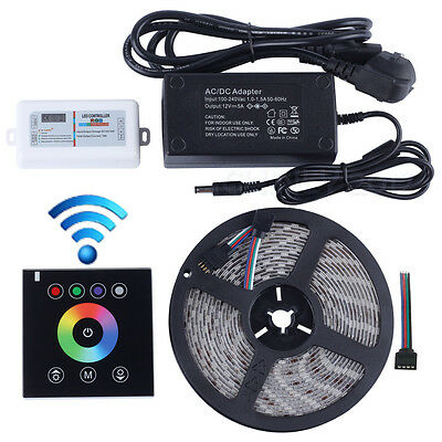 2.4G Wireless wall switch touch controlle+12V RGB led strip 5M 300led+Power