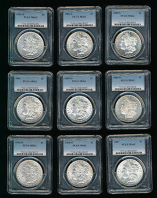 Lot of Nine (9) PCGS MS 63 Morgan Dollars All Different Dates Nine Silver $1's