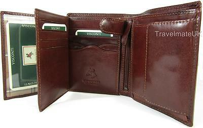 New Visconti Monza Multi Pocket Brown Or Black Italian Leather Mens Wallet Mz3