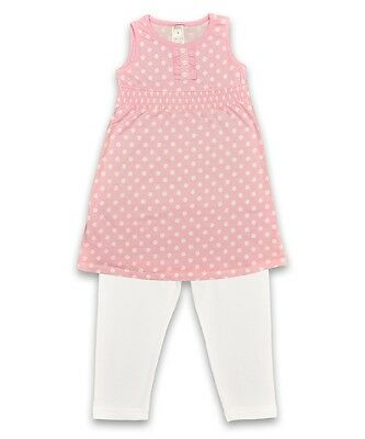 BNWOT Girl's Pink & White Spot Tunic and White Leggings Set - Ages 4 Years Only