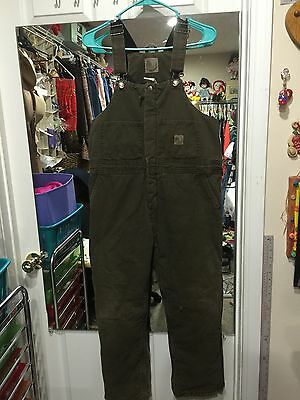 Boys Youth Berne Olive Green Sz L (14-16) Heavy Duty Overalls. CH58