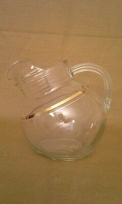 Vintage Clear Glass Pot Belly Beverage Pitcher With Gold Band
