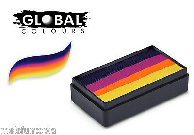 Global Colours 30g Hobart Fun Stroke Rainbow Cake Professional Face Paint Party