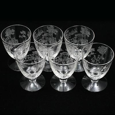 Fostoria Plymouth Etched Glasses Oyster Fruit Cocktail Vintage Elegant Glass