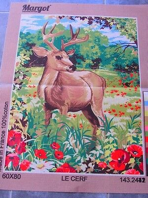 Canvas Tapestry Needlepoint Printed Canevas Gobelin Margot De Paris Le Cerf New