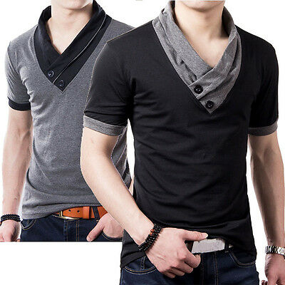 Korea Summer Men Casual V-Neck Cotton Tops Blouse Slim Short Sleeve T-Shirt