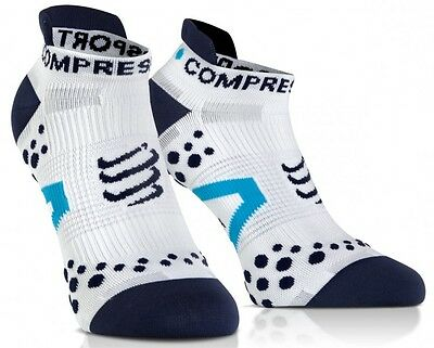 Compressport Pro-Racing-Socks V 2.1Ultra Low Cut white/blue. Neu!