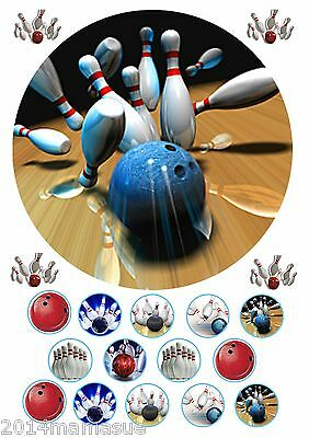 "Ten Pin Bowling 7.5"" Round Cake Topper Wafer Card Rice Paper & Cupcake Toppers"