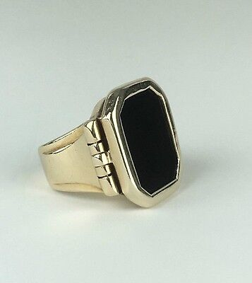 Antique Late Victorian - Early Edwardian 18K Onyx Signet Ring - 26.8 g  Size 6.5