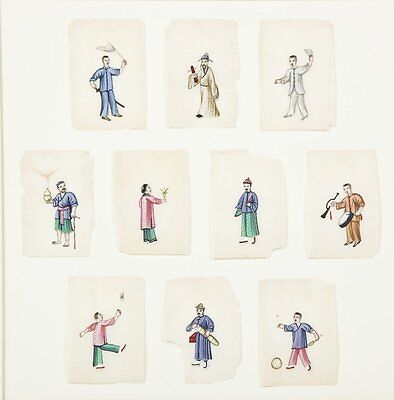Set of Ten (10) Chinese Pith Paper Rice Paper Occupational Paintings - Framed