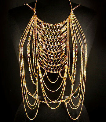 LUXE Celeb Statement GOLD SILVER OR BLACK Body Chain Necklace  By Rocks Boutique