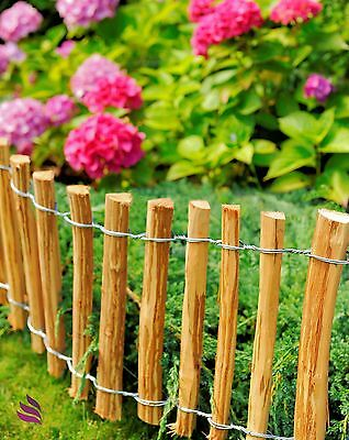 Decorative, impregnated picket fence with stakes - length: 5m x height: 35 cm
